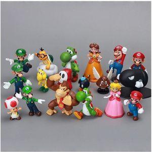 FIGURINE - PERSONNAGE Lot de 18 Pièces Super Mario Bros Luigi Goomba Etc