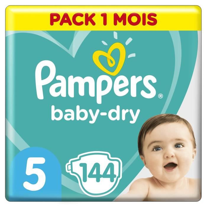 COUCHE PAMPERS Baby Dry Taille 5 - 11 à 23kg - 144 couche