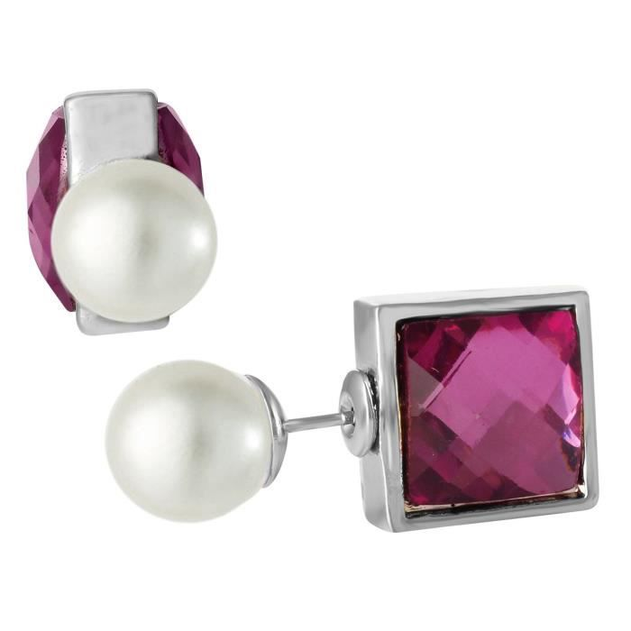 Womens Purple Square Pearl Stud Earring Double Side Earring For Aier 1114 RE9I1