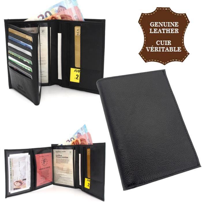 nouvelle collection b91c3 49f34 Portefeuille Cuir de vachette Véritable Porte cartes Carte ...