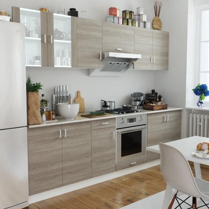 Cuisine Moderne: Cuisine Complète 8 Pièces Aspect Chêne