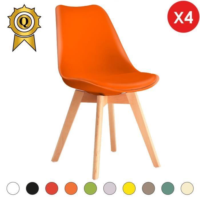 4 X Chaise Inspiration Eames Tulipe Bois Clair Crois Orange MobistylR