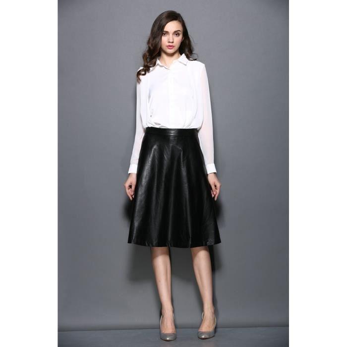 69eaf80d453cb6 Jupe trapèze mode femme jupe longue femme en cuir synthétique Noir ...