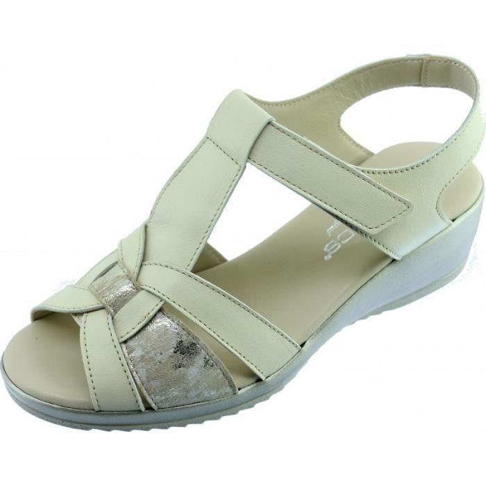 TRUE - Sandale compensée confort à velcro scratch souple et flexible chaussure Femme pieds sensible marque Aérobics cuir beige