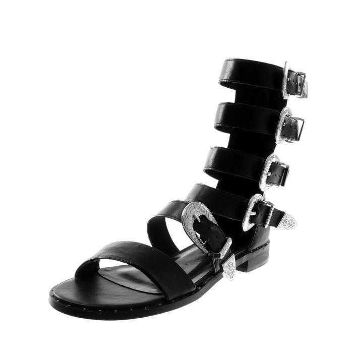 Angkorly - Chaussure Mode Sandale spartiates montante femme multi-bride boucle clouté Talon bloc 2 CM - Blanc - B7785 T 41 dLpwtK