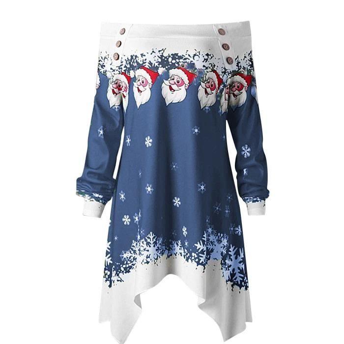 shirt Imprimer À Hauts T Pull Huadedu Chemisier Sweat Femmes Marine Dots Zipper Noël Capuche wTW1q7g