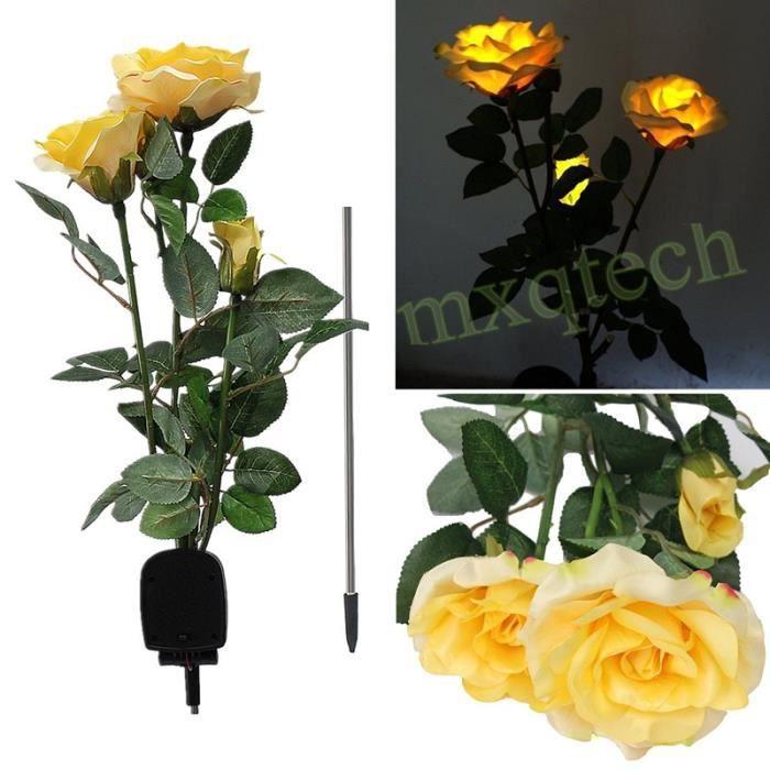 Lavent Lampe Pour Allee De Jardin 3led En Forme De Fleur Jaune
