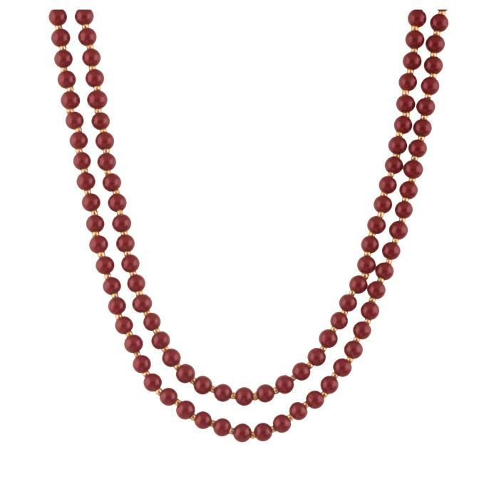 Womens Beads Jewellery Maroon Pearl Multi-strand Necklace For (12424) DJ344