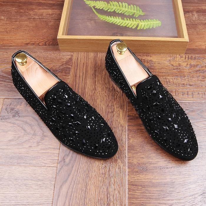 Nouvelle arrivée marque de luxe mariage des hommes étape Night Club vache Chaussures en cuir cristal Slip-on chaussures brillant S5rECpk8f6