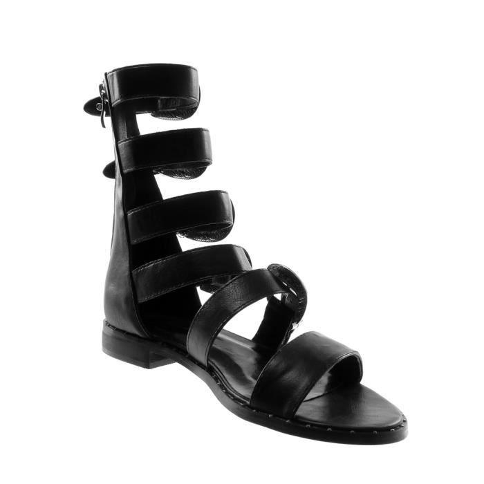Angkorly - Chaussure Mode Sandale spartiates montante femme multi-bride boucle clouté Talon bloc 2 CM - Noir - B7785 T 35