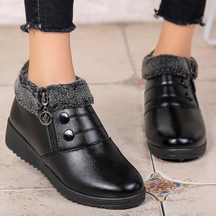 En slip Classiques Avec Plat Chaussures Femmes Cuir Bottines Anti Zipper Des Fw6wCq