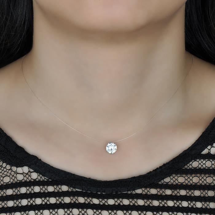 Infinite U Collier invisible femme collier de la clavicule élégant solitaire zircon le fil nylon transparent