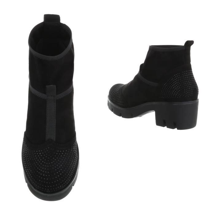 Chaussures femme bottine caoutchouc Bottes noir 41