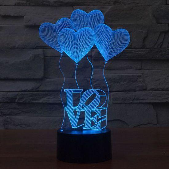 De 3d Table Amour Illusion Led Bureau Lampe tsQrChBxd