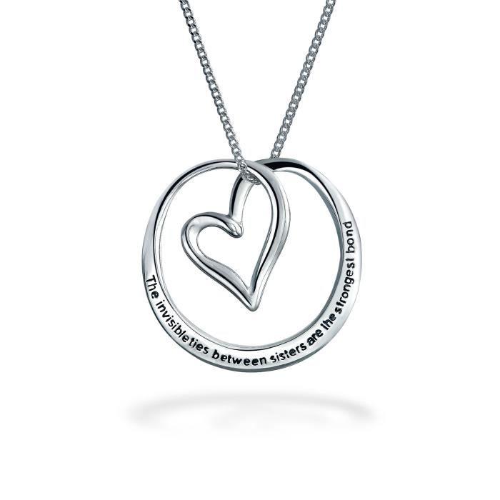 Argent 925 Bling Jewelry Soeurs Coeur Pendentif Message 18in