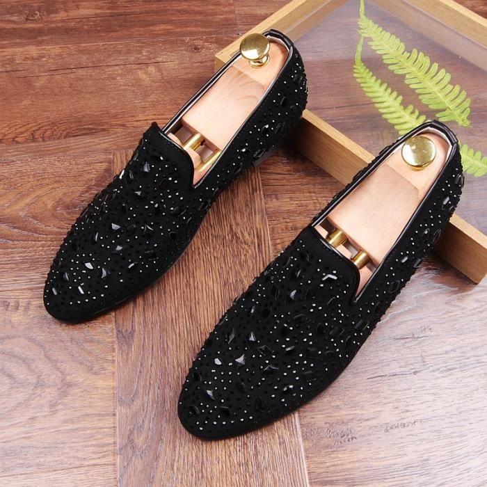 chaussures on Night arrivée hommes cuir marque Club brillant cristal en Nouvelle Slip vache mariage Chaussures luxe étape des de TdFan8xqa
