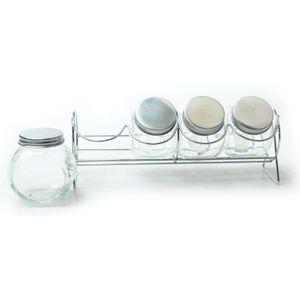 JOCCA Set de 4 pots ? épices en cristal transparent et gris
