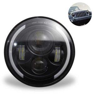 PHARES - OPTIQUES Phare LED rond noir approuvé de 7 '' 150 W pour JK