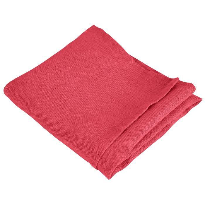 VENT DU SUD Serviette de table SYMPHONIE en lin - 50 x 50 cm - Rouge cranberry