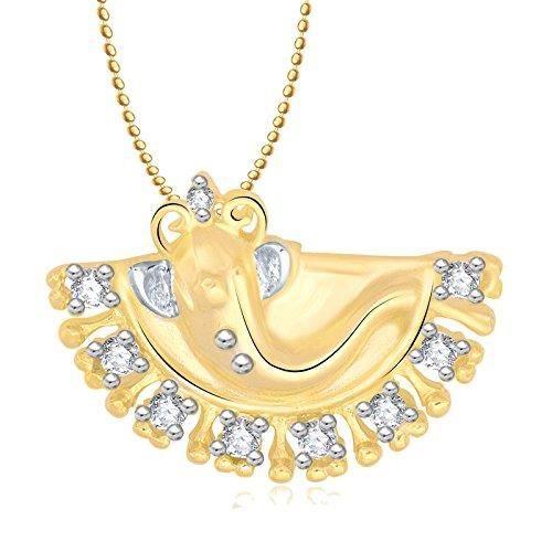 Femmes Ganesha Ganpati Dieu Pendentif avec Pour, plaqué or en Amérique diamant Cz Gp Bijoux A0813