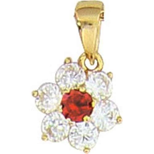 SF Bijoux - Pendentif plaqué or OZ rouge rubis - (301888)