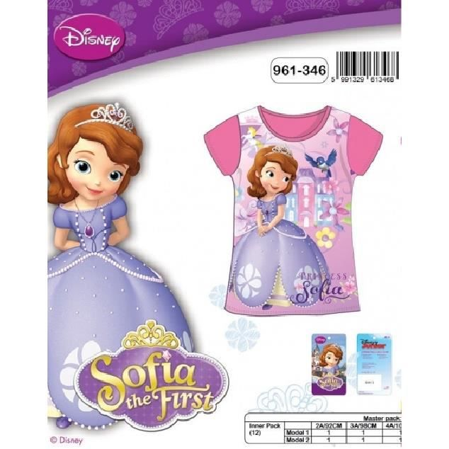 T-shirt manches courtes Princesse SOFIA DISNEY   100% coton   NEUF l unité   8c2a82d36ce2