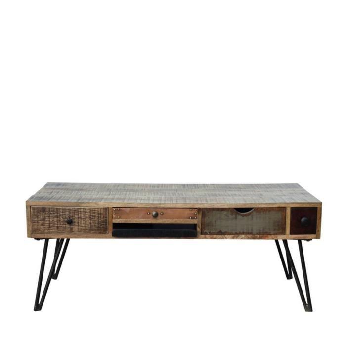 Table basse vintage en bois Fusion - Couleur - Bois - Métal - Achat ...