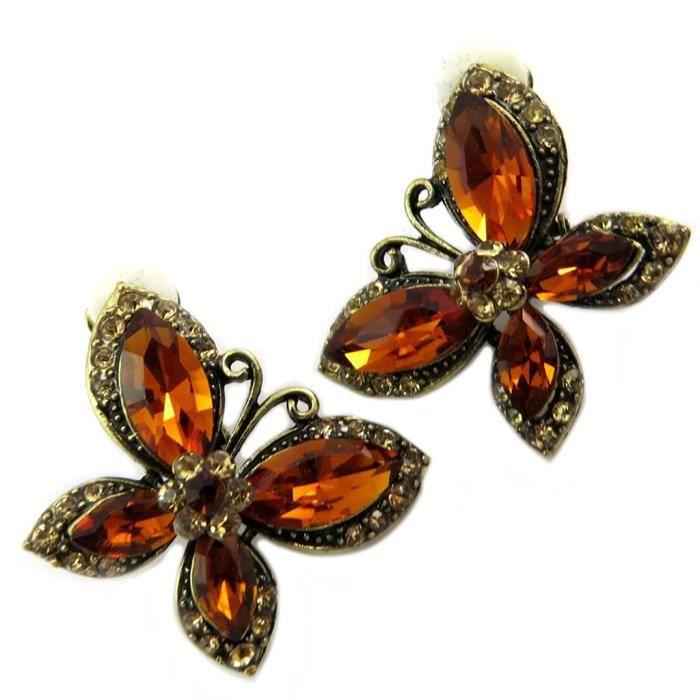 Clips Créateur Sissi marron doré (papillons) -35x35 mm [P4646]