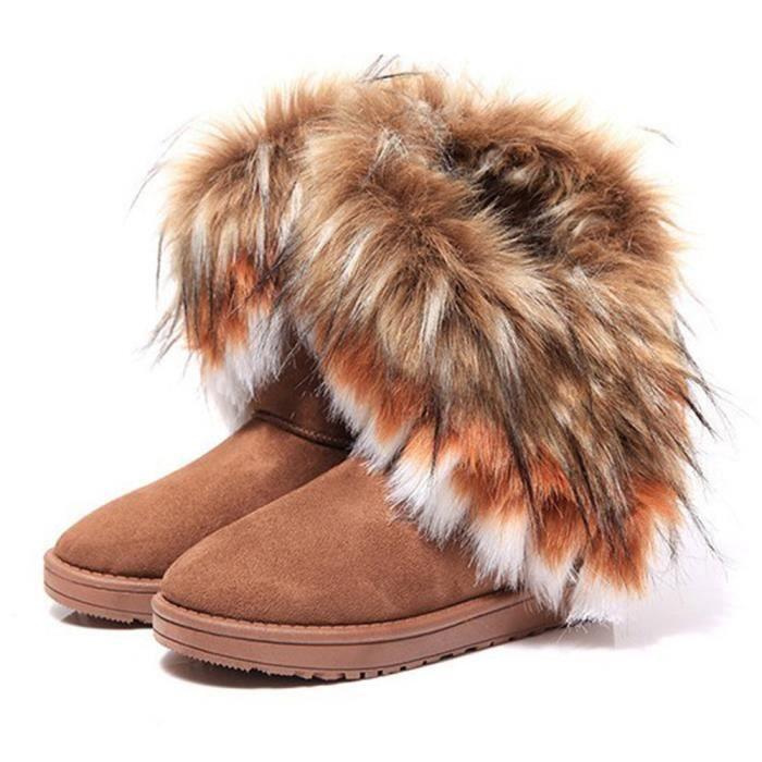 Bottes de neige Femmes Fluffy Peluche mignonne Botte Nouvelle Mode Meilleure Qualité Antidérapant Chaussure Taille 36-42