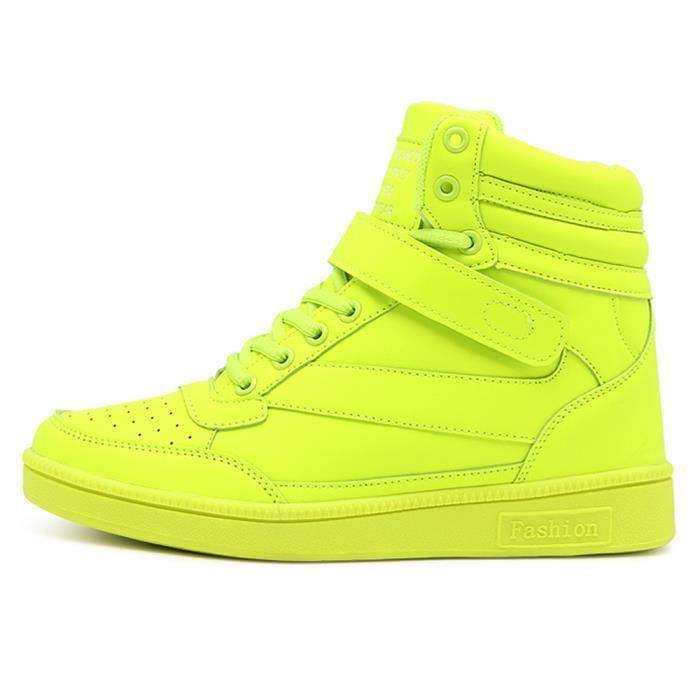 Jaune Sneakers Chaussures Sport Basket Montante Femme Compensées TlFJK1c