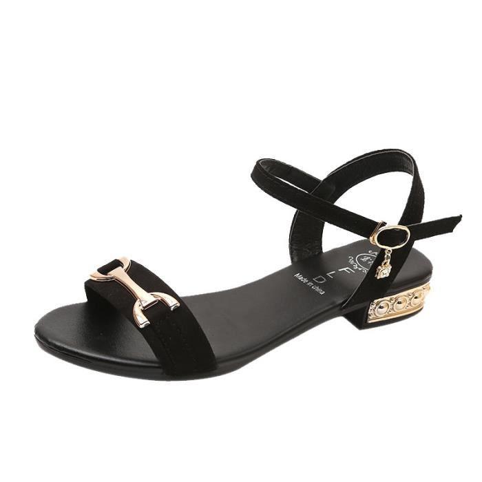 Dames noir D't Basses Sandales Peep Tongs Chaussures Romaines toe Femmes 0vv6qgBz