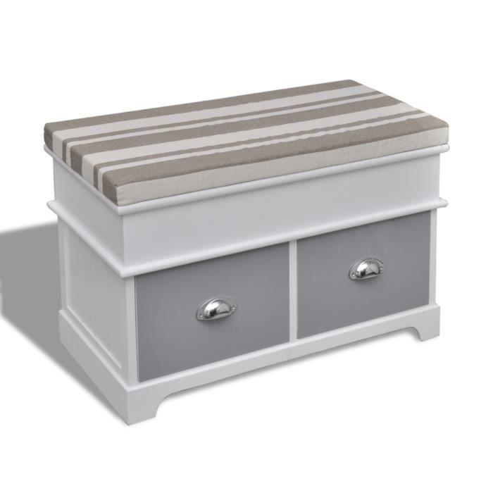 banc de rangement avec 2 tiroirs coussin inclus achat vente meuble chaussures banc de. Black Bedroom Furniture Sets. Home Design Ideas