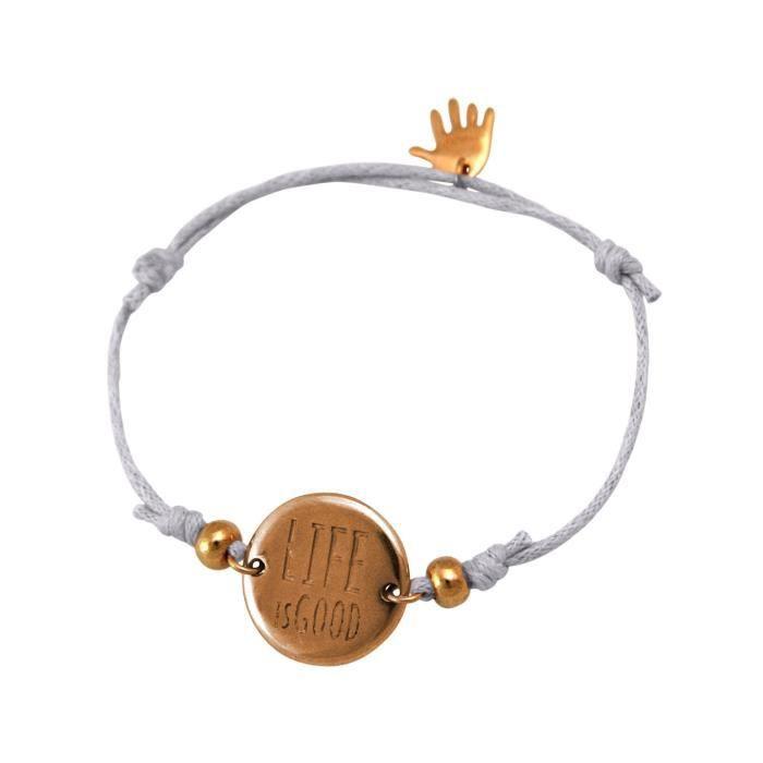Gemshine - Dames - Bracelet - Gravure - LA VIE EST BON - plaqué or rose - gris clair