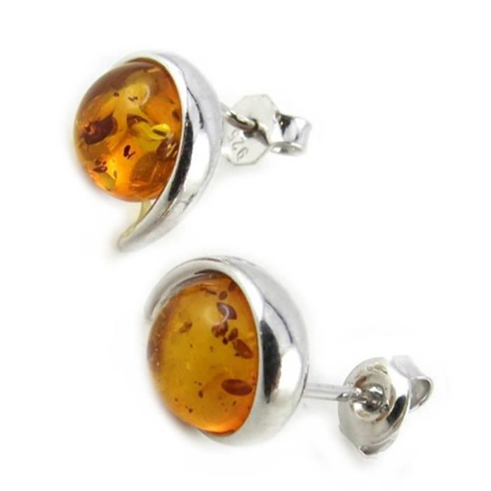 Les Trésors De Lily [N1946] - Boucles Argent Inspiration ambre cognac (rhodié)