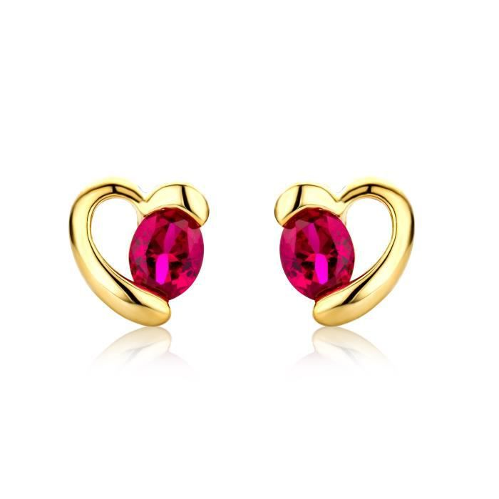 Miore Gold Earrings 9ct Yellow Gold Ruby Open Heart Stud Earrings Mg9199e 1WBZSE