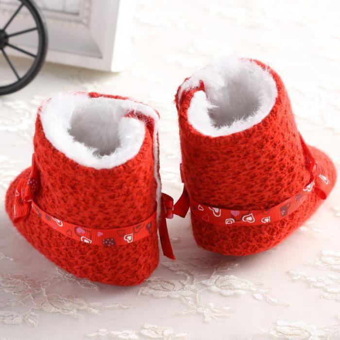 Rouge-Mignon Bébé Bottes de neige Tendance Loisirs Fond mou Garde au chaud Chaussures en coton bébé