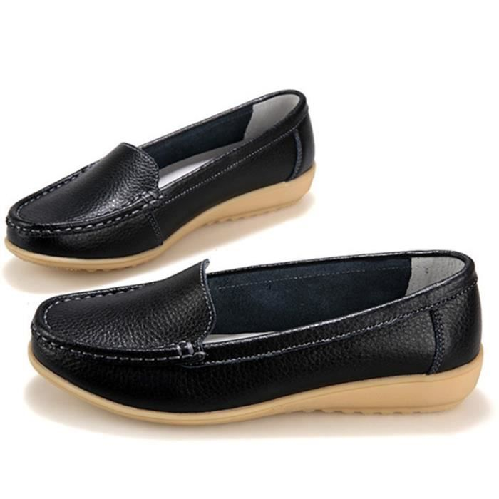 Genuine Leather Driving Shoes Casual Loafer Flats Boat Shoes SDT83 Taille-38