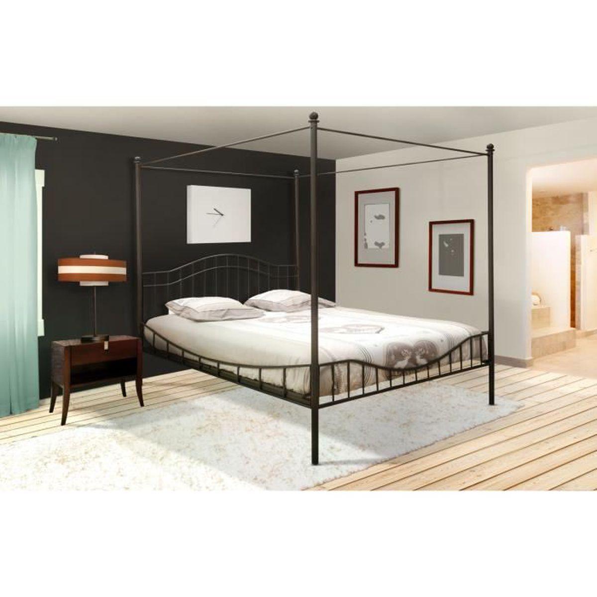 lit à baldaquin 2 personnes 160x200 cm noir avec sommier - achat