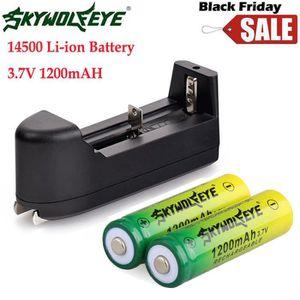 CHARGEUR DE PILES 2PCS 14500 3.7V 1200mAh BRC Lithium rechargeable L