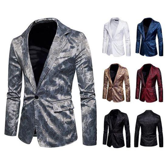 À Blazer gris Fleur Costumes Revers Manches Hommes Costume D'affaires Longues Slim Veste HqxdBwE