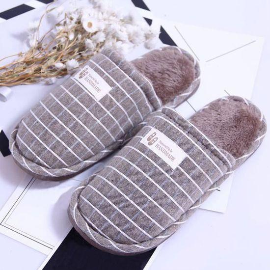 Pantoufles chaudes d'intérieur de Stripe d'hiver de femmes chaussures souples anti-dérapantes à la maison _SJF71027733GY  Gris Gris Gris - Achat / Vente botte