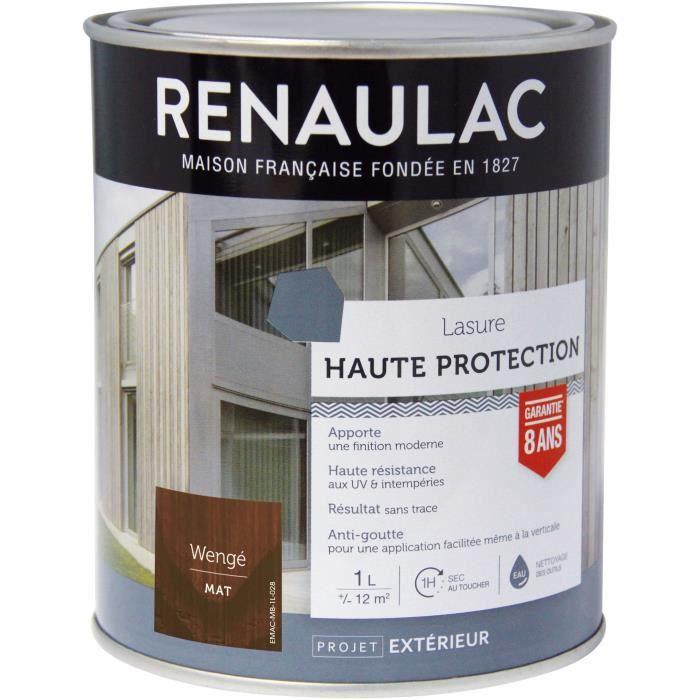 RENAULAC Lasure haute protection Wenge - Garantie 8 ans - 1L - 12m² / pôt