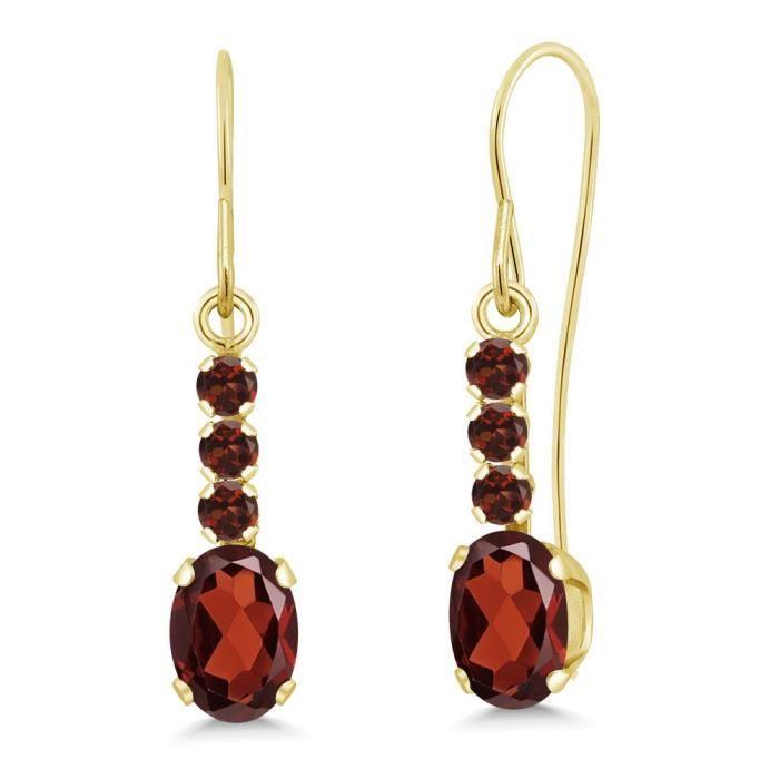 Womens 1.34 Ct Oval Red Garnet 10k Yellow Gold Earrings N96JS