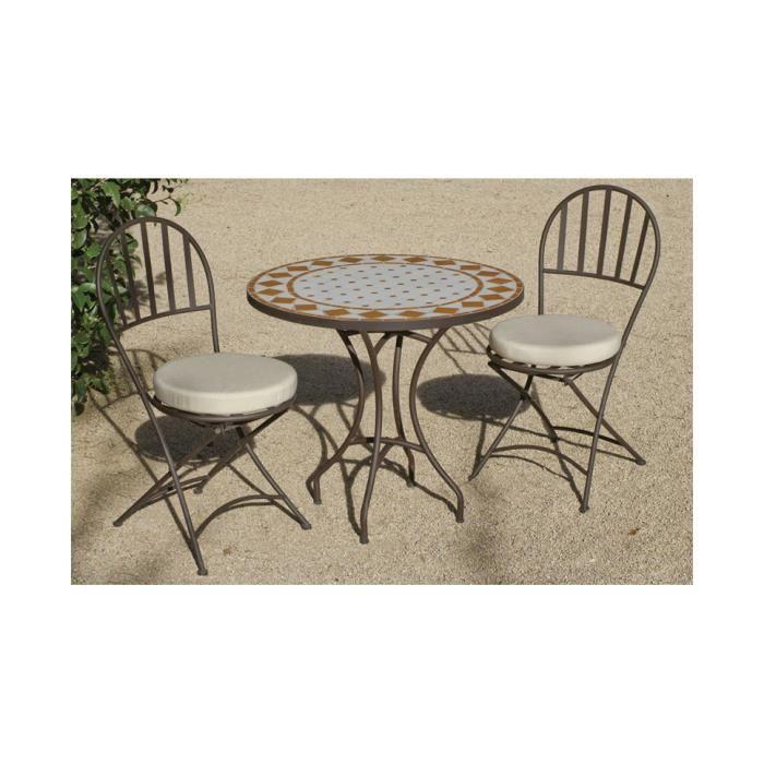 Ensemble jardin acier bronzé et mosaïque 4 chaises pliables 1 table ...
