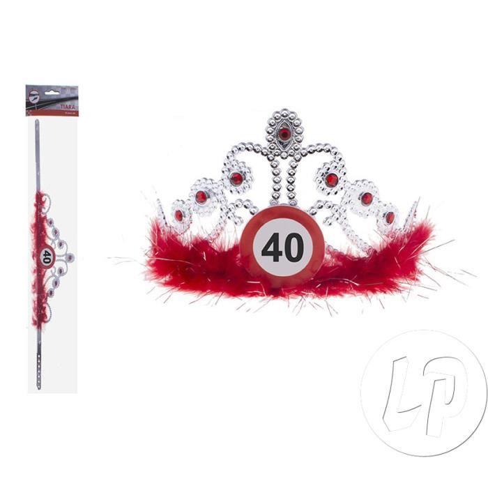 Lot de 6 - Diadème couronne strass & plumes anniversaire 40 ans - Qualité COOLMINIPRIX®