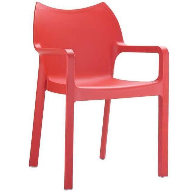 FAUTEUIL JARDIN Chaise De Jardin Empilable En Plastique Rouge