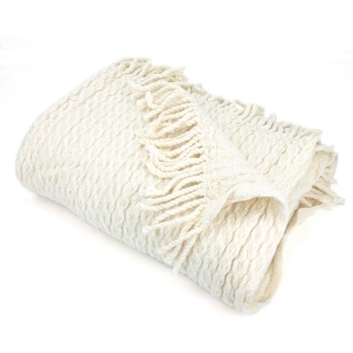 Plaid tissage torsadé 130x170 cm laine Lambswool 600 g m² TORSADO Blanc  Naturel 6489391d719