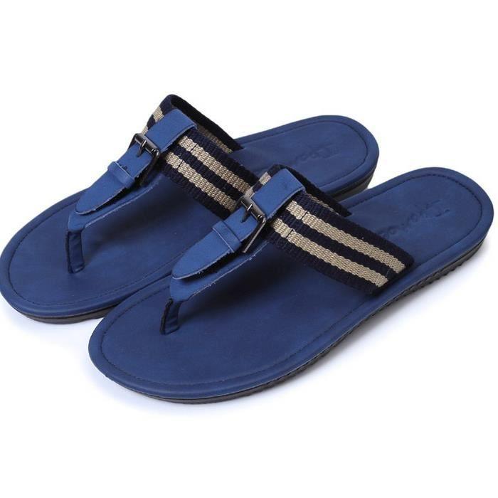 Le tourisme estival nouveau mot de l'homme tergiverse plage PU sandales en cuir frais flip-flops chaussures lVPM5eG6Eq