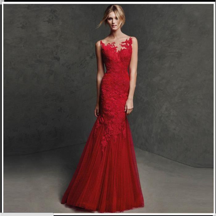 bea3c6dbb80 La nouvelle section longue de la robe de soirée rouge robe sexy de mariage  robe de mariée en queue de poisson