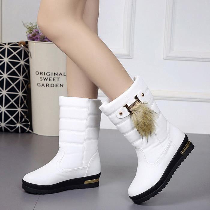 Chaussures d'hiver pour femmes chaudes femmes bottes d'hiver mi-mollet bottes de neige blanc YBUv6vmJX